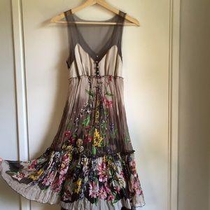 BCBG 100% silk midi length floral dress size XS